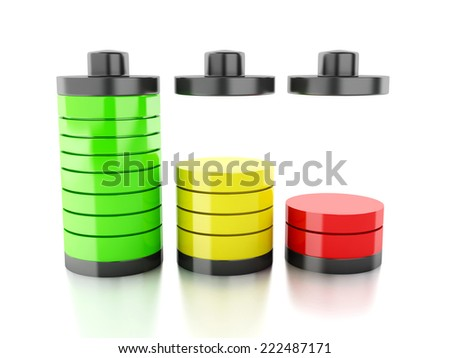 battery icon with colorful charge status on white background - stock photo