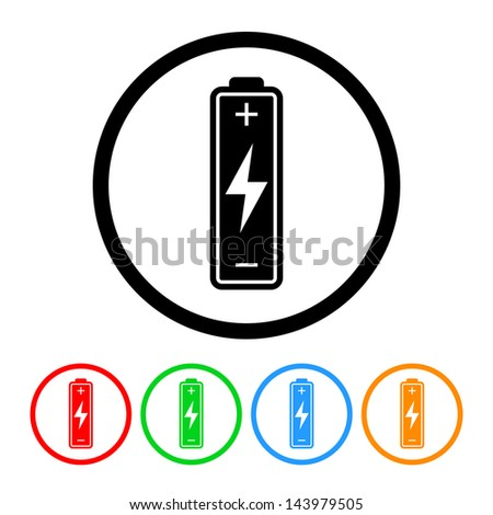 Battery Icon with Four Color Variations - Raster Version.  Vector Also Available. - stock photo