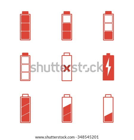 Battery icons set. Flat design style - stock photo