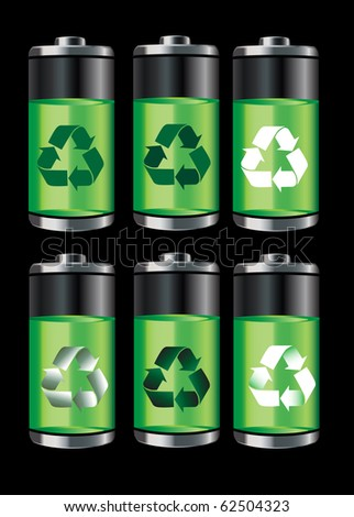 Battery icons with recycle symbols isolated on black. Also available in vector format. - stock photo