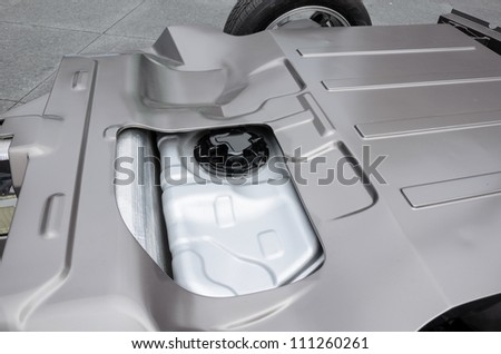 Battery in rear of electric car - stock photo