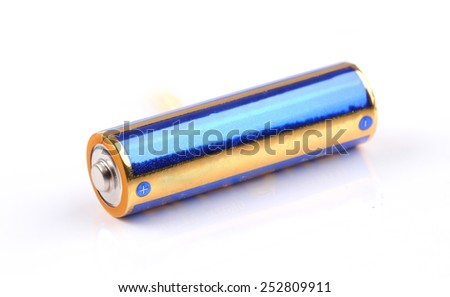 Battery isolated on white - stock photo