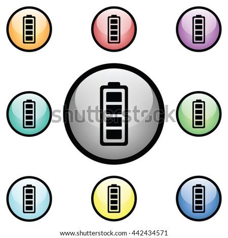 Battery Level Icon Glass Button Icon Set.  Raster Version - stock photo