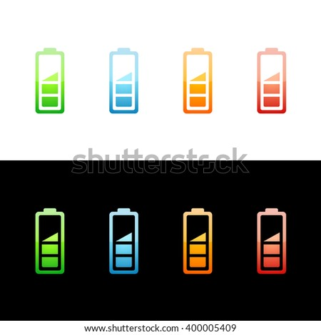 Battery Level Icon Glossy Glass Icons in Four Colors. Raster Version - stock photo