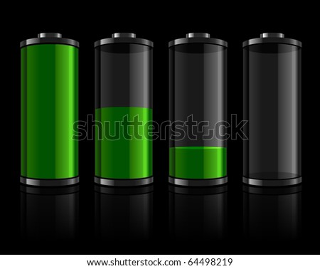 Battery levels set - stock photo