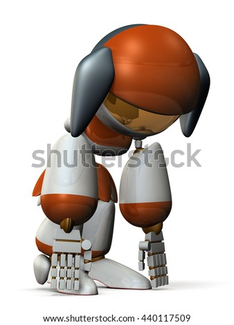 Battery of cute robot is exhausted. 3D illustration - stock photo