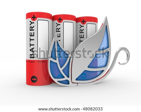 Battery on a white background. The concept of safe energy - stock photo