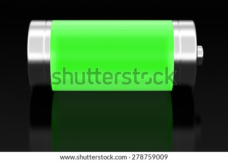 Battery on black with reflection, 3D render - stock photo