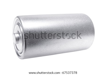 Battery on White Background - stock photo