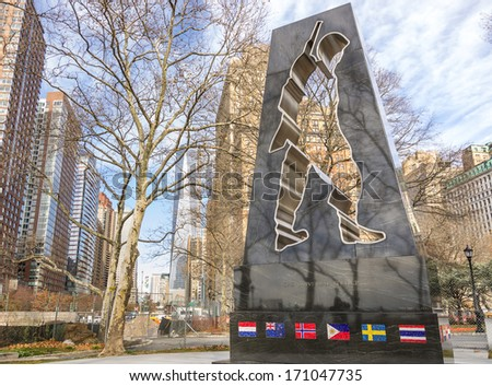 Battery Park and Universal Soldier monument,New York - stock photo
