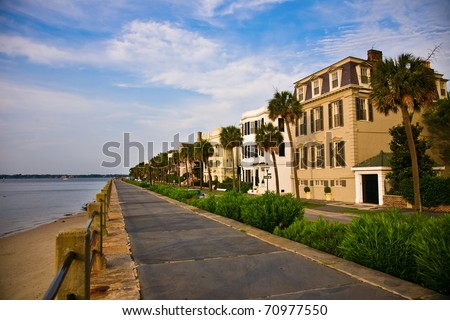 Battery Park in the historic waterfront area of Charleston, South Carolina - stock photo