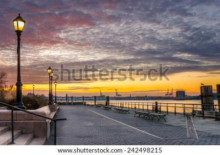 Battery Park Public Footpath at Dawn, New York - stock photo