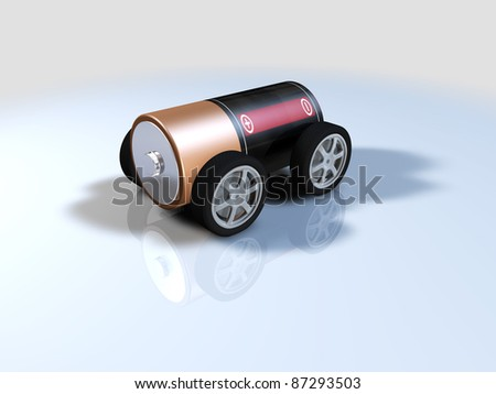 battery powered car, alternative energy electric car - stock photo