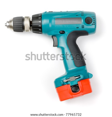 Battery-powered electric drill on white background - stock photo