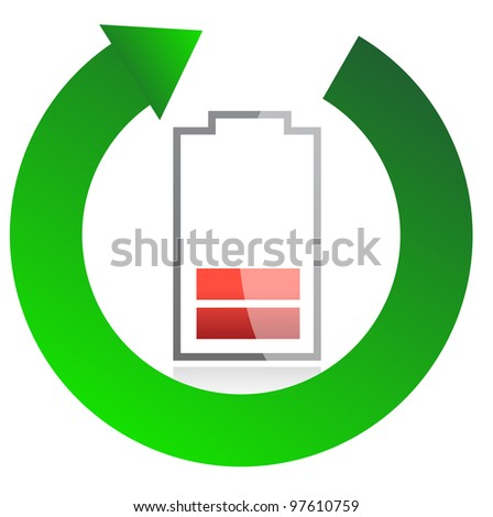 battery recycling concept illustration design over white - stock photo