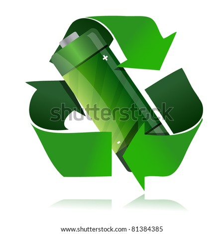 battery recycling symbol illustration design over a white background - stock photo