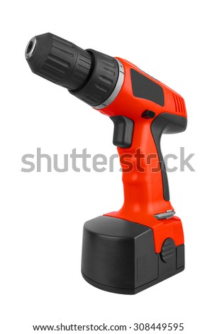 Battery screwdriver or drill isolated on white background - stock photo