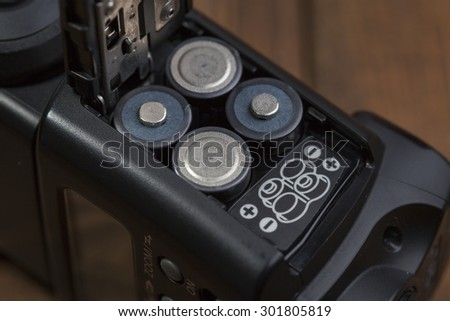 Battery slot in the external flash to the camera - stock photo