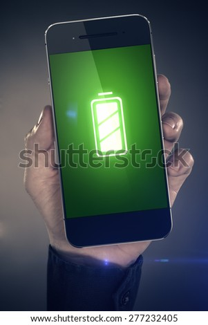 Battery - smart phone concept - stock photo