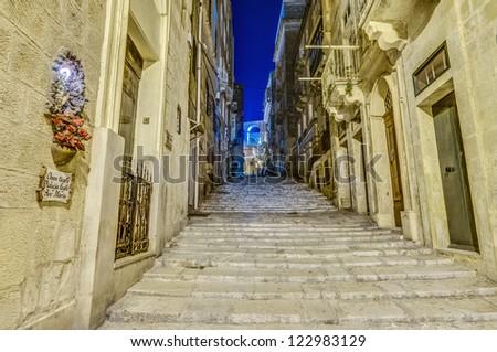 Battery Street (Triq Batterija) in Valletta, Malta - stock photo