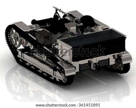 Battle ARMY Tank with Gun on white