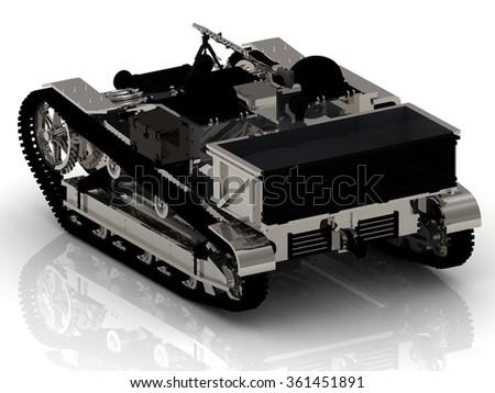 Battle ARMY Tank with Gun on white - stock photo
