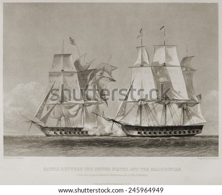 Battle between the USS United States and HMS Macedonian on October 25 1812. The Macedonian was captured repaired and added to the US Navy as the USS Macedonian. - stock photo