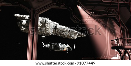 Battle cruiser and scout ship leaving Titan space dock watched by a space marine guard, 3d digitally rendered illustration - stock photo