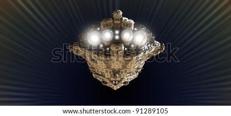 Battle cruiser approaching light speed in an outer space wormhole, 3d digitally rendered illustration - stock photo