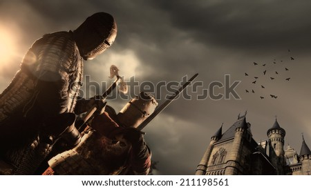 Battle of a Medieval knights. Castle on the background. - stock photo