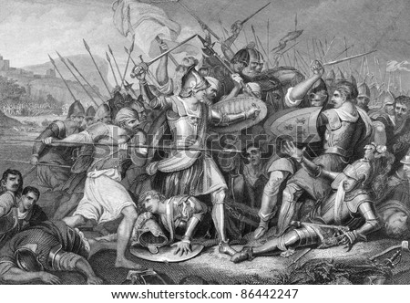 Battle of Agincourt in 1415. Engraved by J.Rogers and published in England's Battles by Sea and Land, United Kingdom, 1857. - stock photo