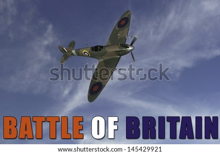 Battle of Britain Banner featuring a British RAF Spitfire made famous during the summer of 1940.