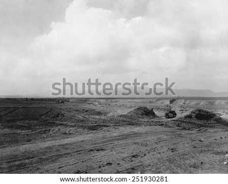 Battle of Kasserine Pass, Feb. 19-22, 1943. U.S. 1st Armored Division tanks lined up in a dry river bed, to act as front defense line. In a close battle with Germans, U.S. forces were routed. - stock photo