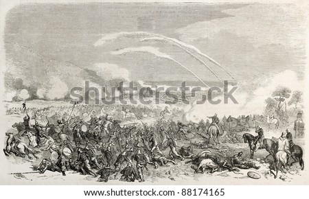 Battle of Palikao during second opium war, old illustration. Created by Worms, published on L'Illustration, Journal Universel, Paris, 1860 - stock photo