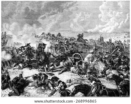 Battle of Waterloo Ney charge the land of cuirassiers, vintage engraved illustration. History of France  1885. - stock photo