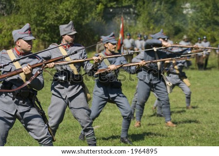Battle scene from first world war in a demonstrative show - stock photo