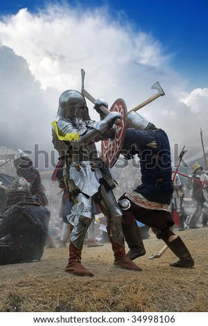Battle with hauberks - stock photo
