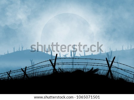 Battlefield illustration background. Smoke and cloud in the sky.  Barbed wire fences. Desolation.  Original digital illustration.
