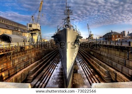 Battleship in a shipyard. Cassin Young American Battleship of the Second World war. - stock photo
