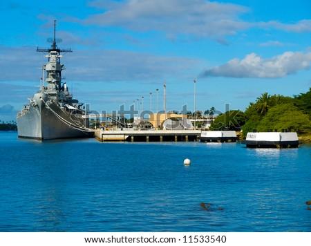 Battleship Missouri Memorial at Pearl Harbor in Honolulu - stock photo