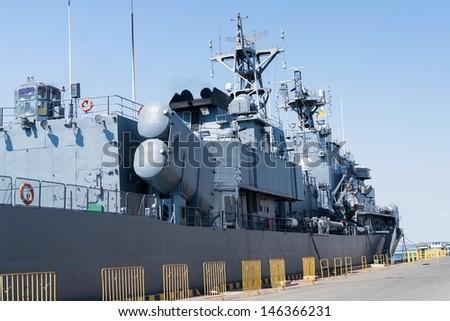 battleship moored pier stern port - stock photo