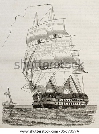 Battleship old illustration. By unidentified author, published on Magasin Pittoresque, Paris, 1842 - stock photo