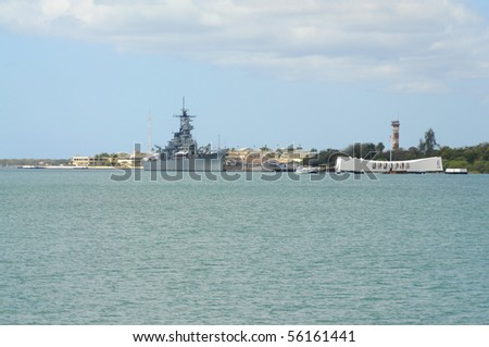 Battleship USS Missouri and USS Arizona battleship memorial in Pearl Harbor Hawaii USA - stock photo