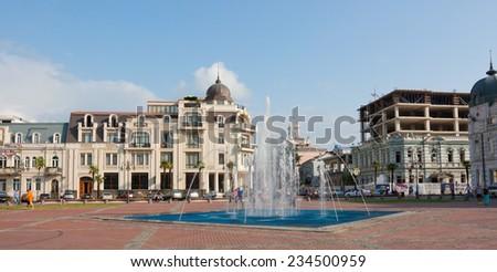 BATUMI, GEORGIA -AUGUST 14 : View of Eras Moedani square in Batumi, Georgia on August 14, 2013. Batumi is the capital of the Autonomous Republic of Adjara. - stock photo