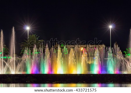 Batumi, Georgia - July 09, 2015: Light and music fountain. Capital of Adjara - Batumi at night