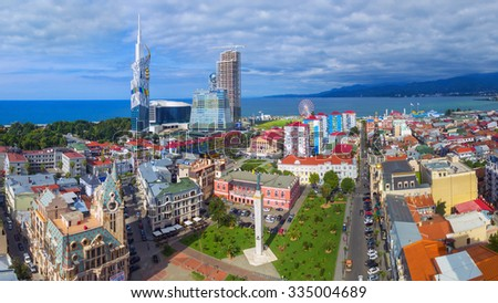 BATUMI, GEORGIA - September 17, 2015: Aerial view of downtown of Batumi - capital of Adjara, Georgia. Photo made with drone - stock photo