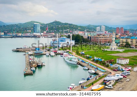 Batumi Sea Port with boats and passenger terminal. Georgia - stock photo
