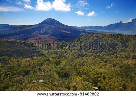 Batur. Active volcano on the Bali island - stock photo