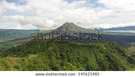 Batur volcano mountain with two crater at Kintamani, Bali, Indonesia - stock photo