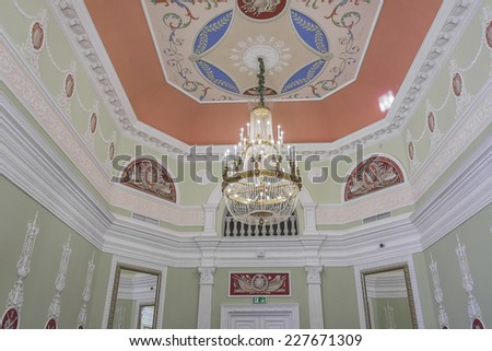 BATURYN, UKRAINE - OCTOBER 4, 2014: Interior of Kirill Razumovsky Palace. Palace (1803, architect Charles Cameron) is a part of monumental complex Hetmans' Capital, Chernihiv province.